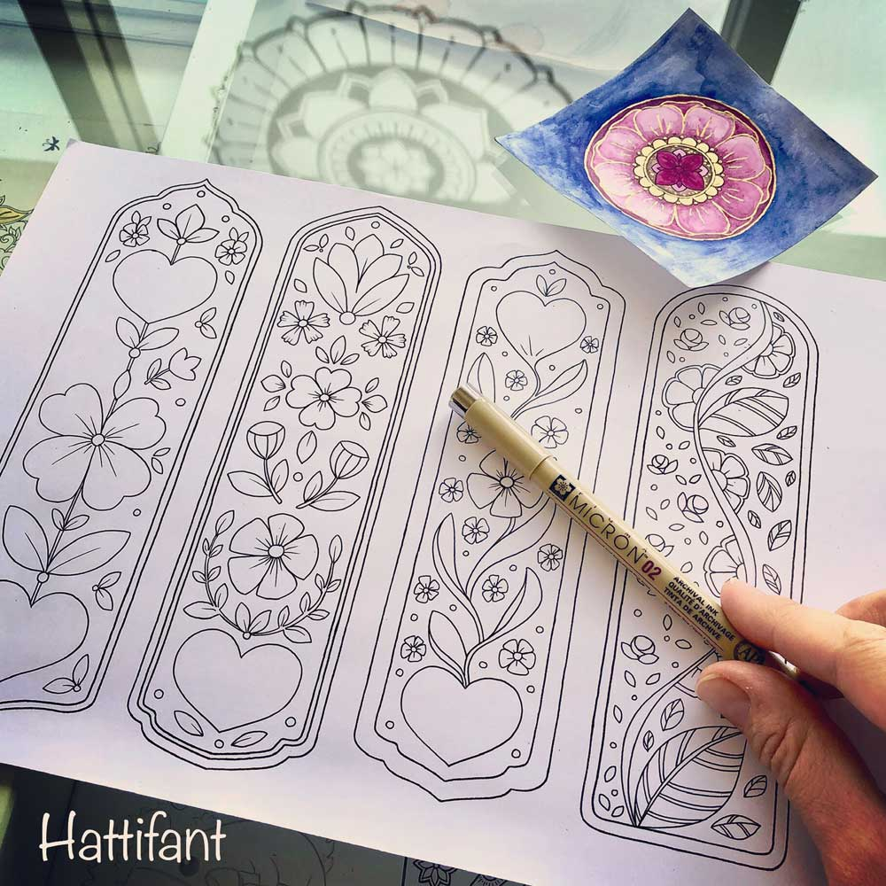 Hattifant's Flower and Hearts Bookmarks ready for Valentine sketch