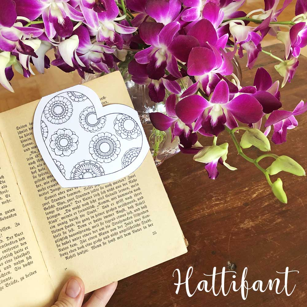 Hattifant's Corner Bookmarks with Hearts and Flowers