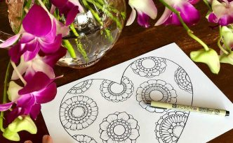 Hattifant's Heart & Flowers Coloring Page perfect for Valentine's Day