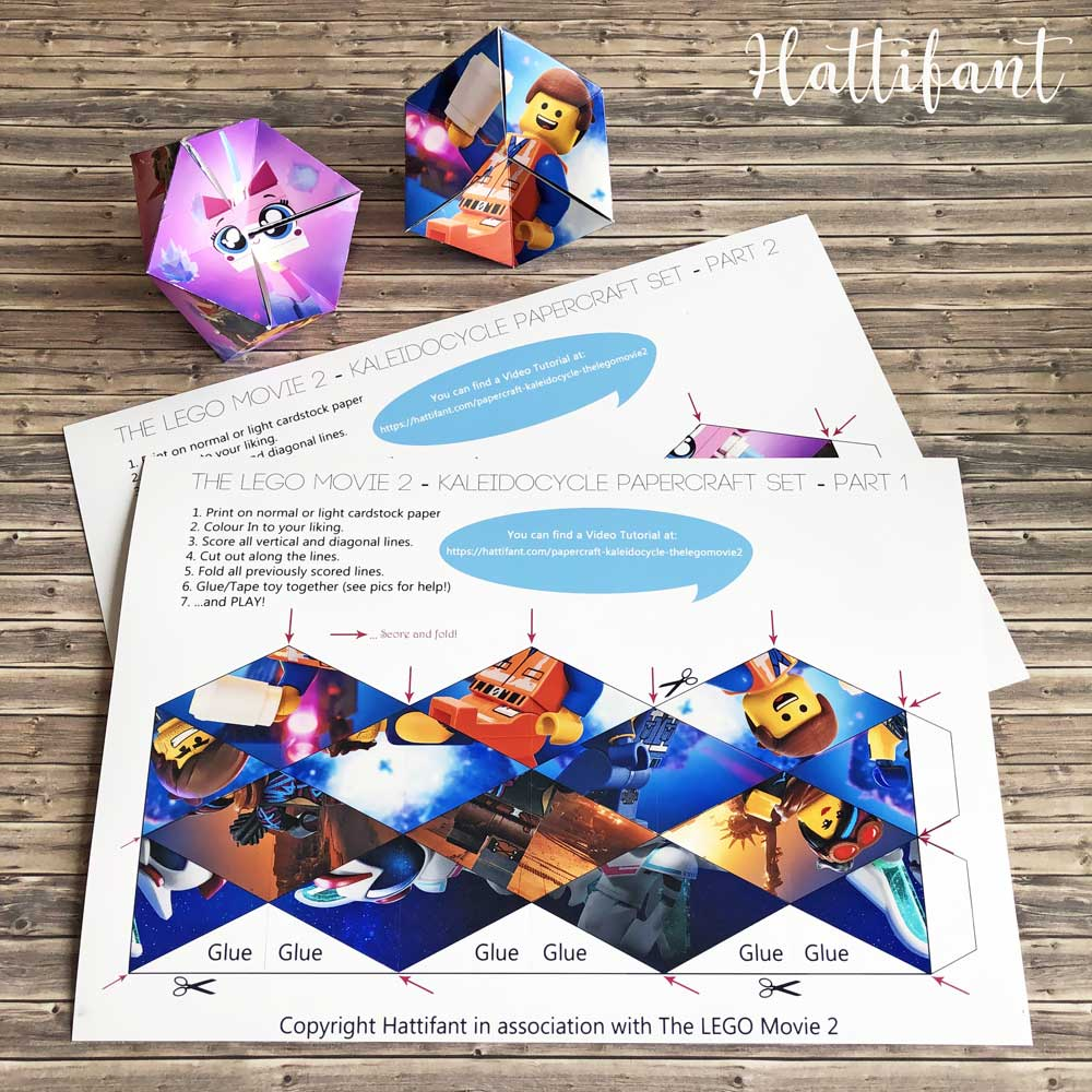 Hattifant's TheLEGOMovie2 Kaleidocycles Flextangles Papertoy Paper Toy