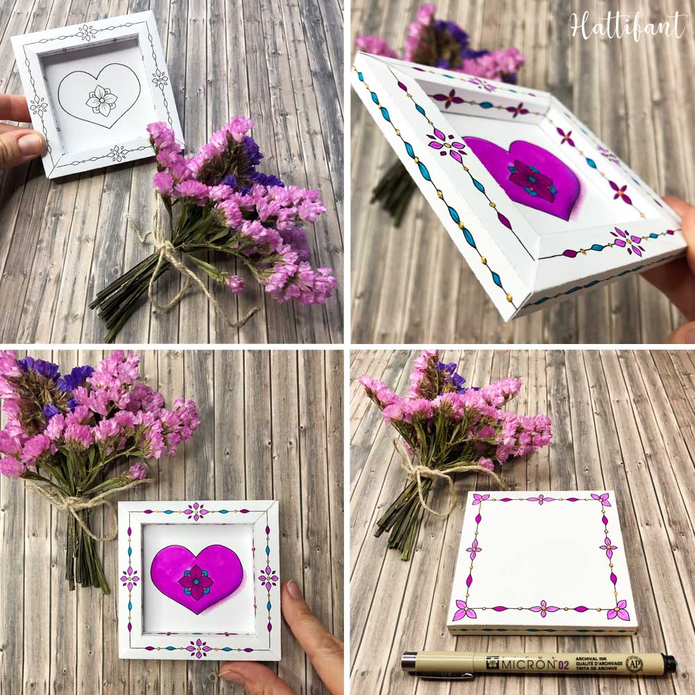 Hattifant's 3D Frames Valentine's Day Greetings to Color Example