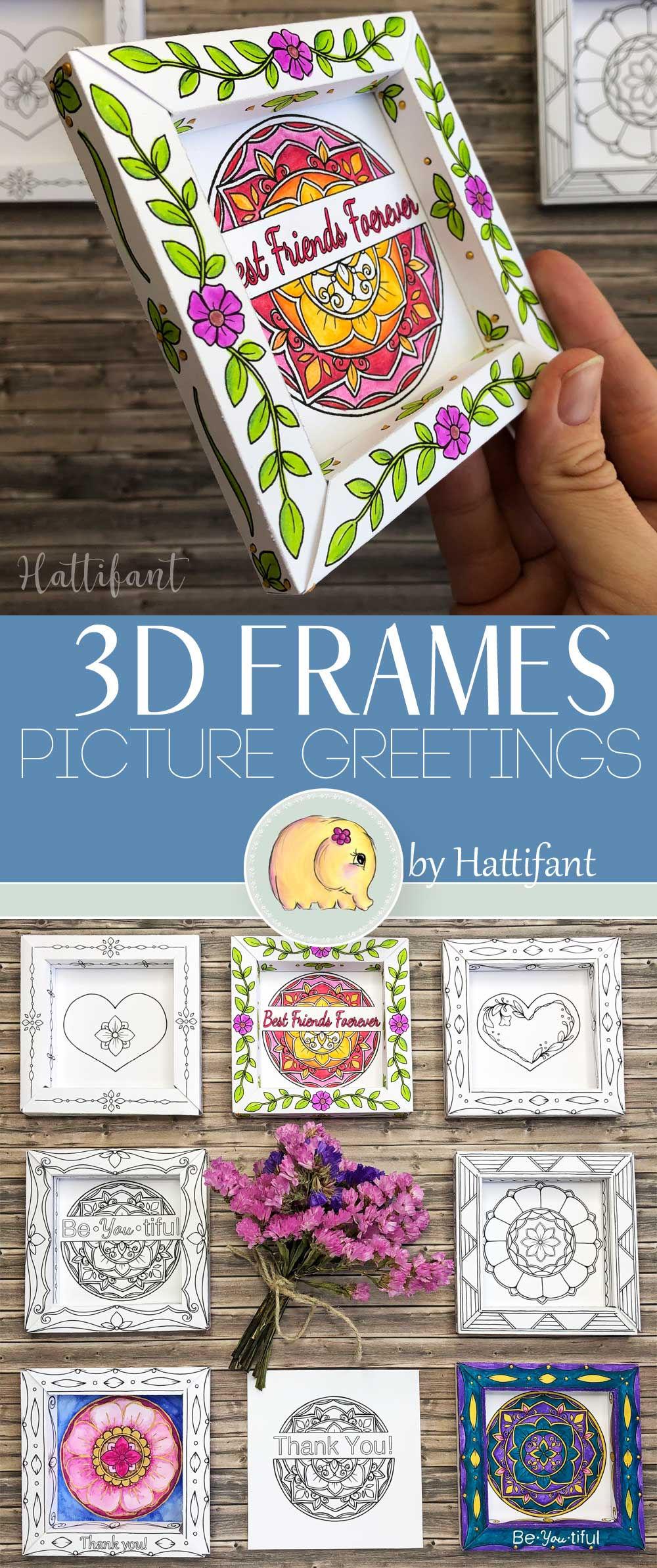 Hattifant's 3D Frames Valentine's Day Greetings to Color