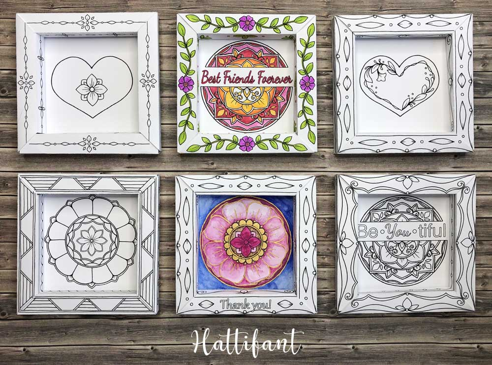 Hattifant's 3D Frames Valentine's Day Greetings to Color choices