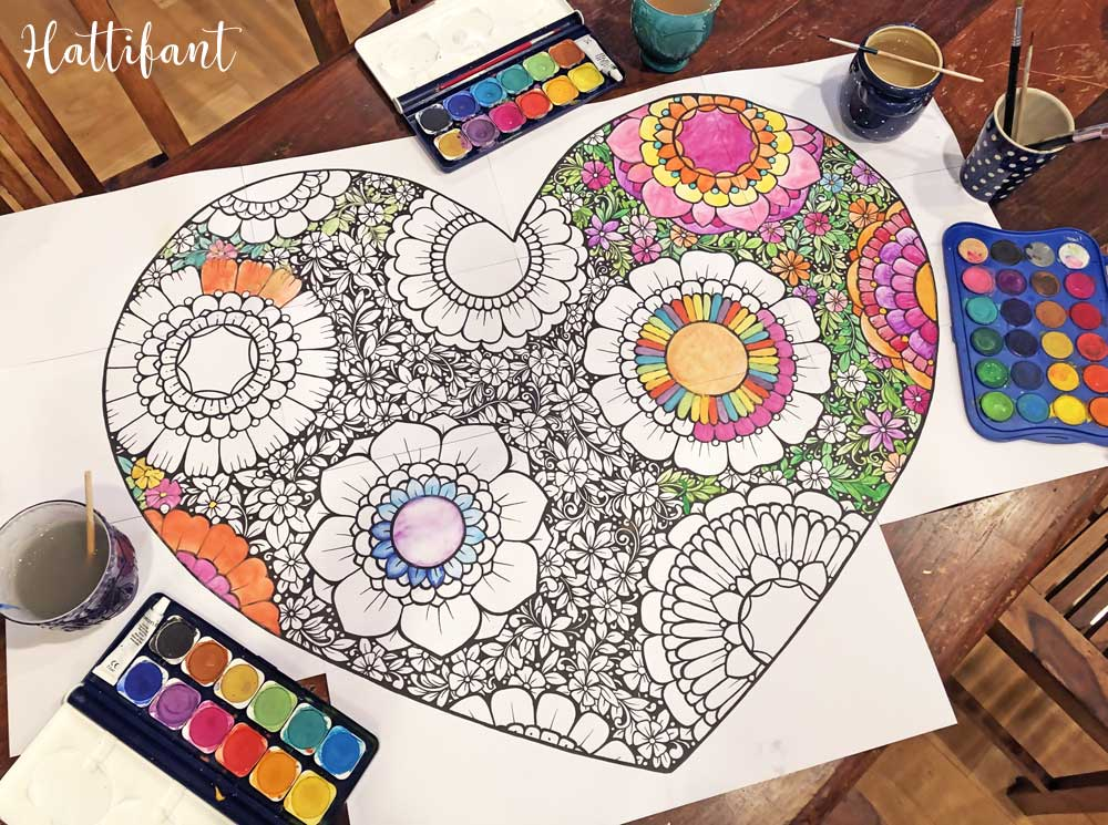 Hattifant's Flower Filled Heart Giant Poster and Coloring Page for Valentine's Day