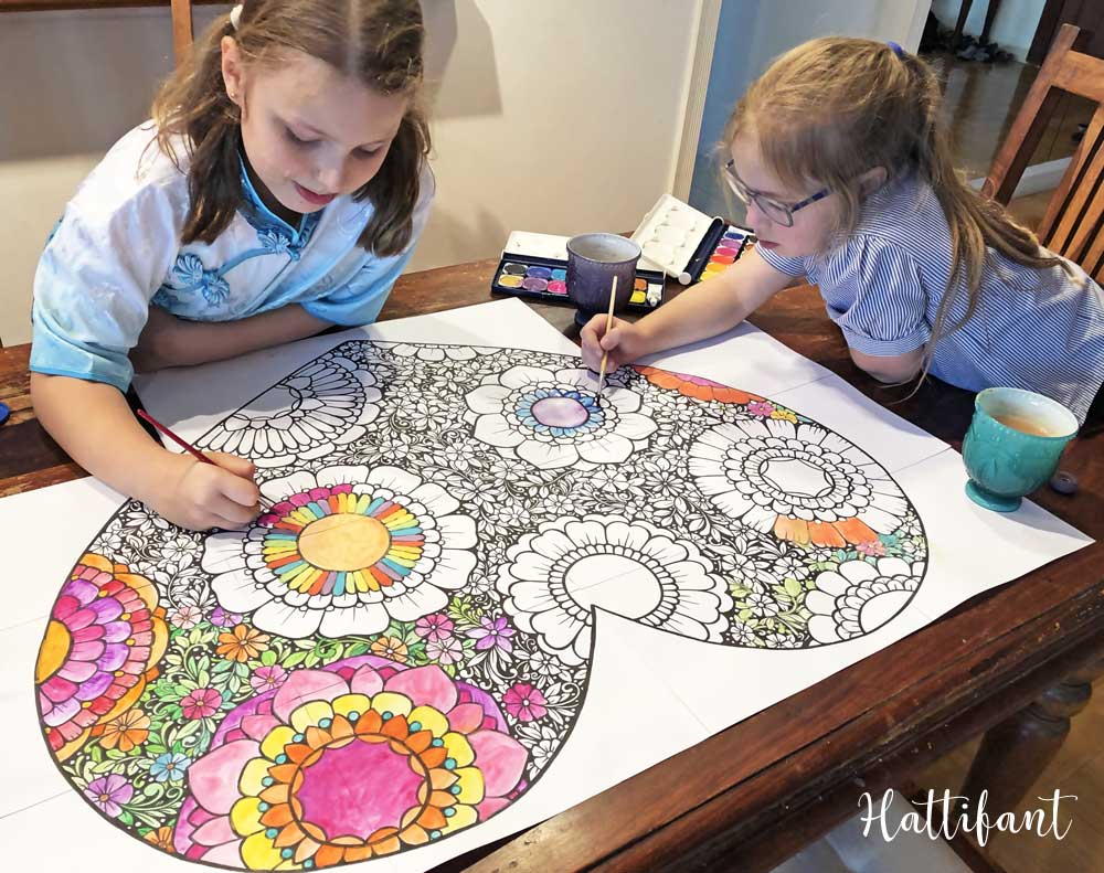 Hattifant's Flower Filled Heart Giant Poster and Coloring Page for Valentine's Day Girls coloring