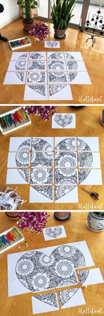 Hattifant's Flower Filled Heart Giant Poster and Coloring Page for Valentine's Day How to put together