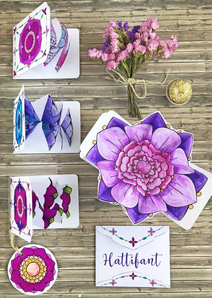 Hattifant's Flowers and Heart Explosion Cards Paper Craft to Color Pop Up Cards