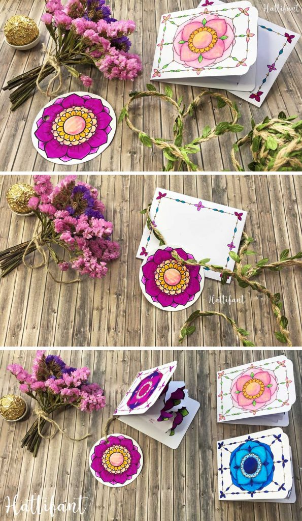 Hattifant's Flowers and Heart Explosion Cards Paper Craft to Color Pop Up Cards gift tag use