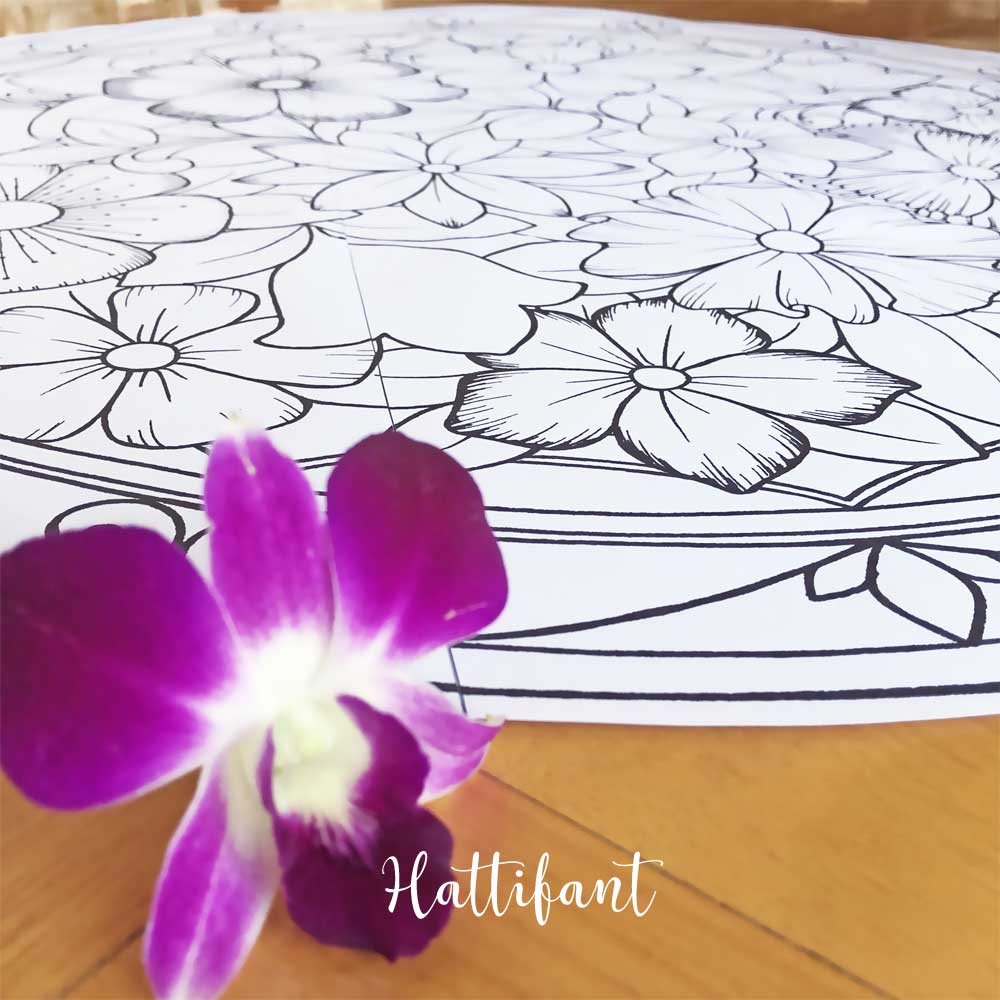 Hattifant's Giant Flower Mandala Poster Coloring Page to color 1