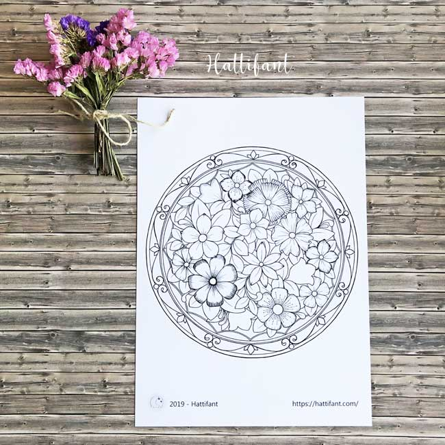 Hattifant's Giant Flower Mandala Poster Coloring Page to color