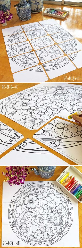 Hattifant's Giant Flower Mandala Poster Coloring Page to color instructions