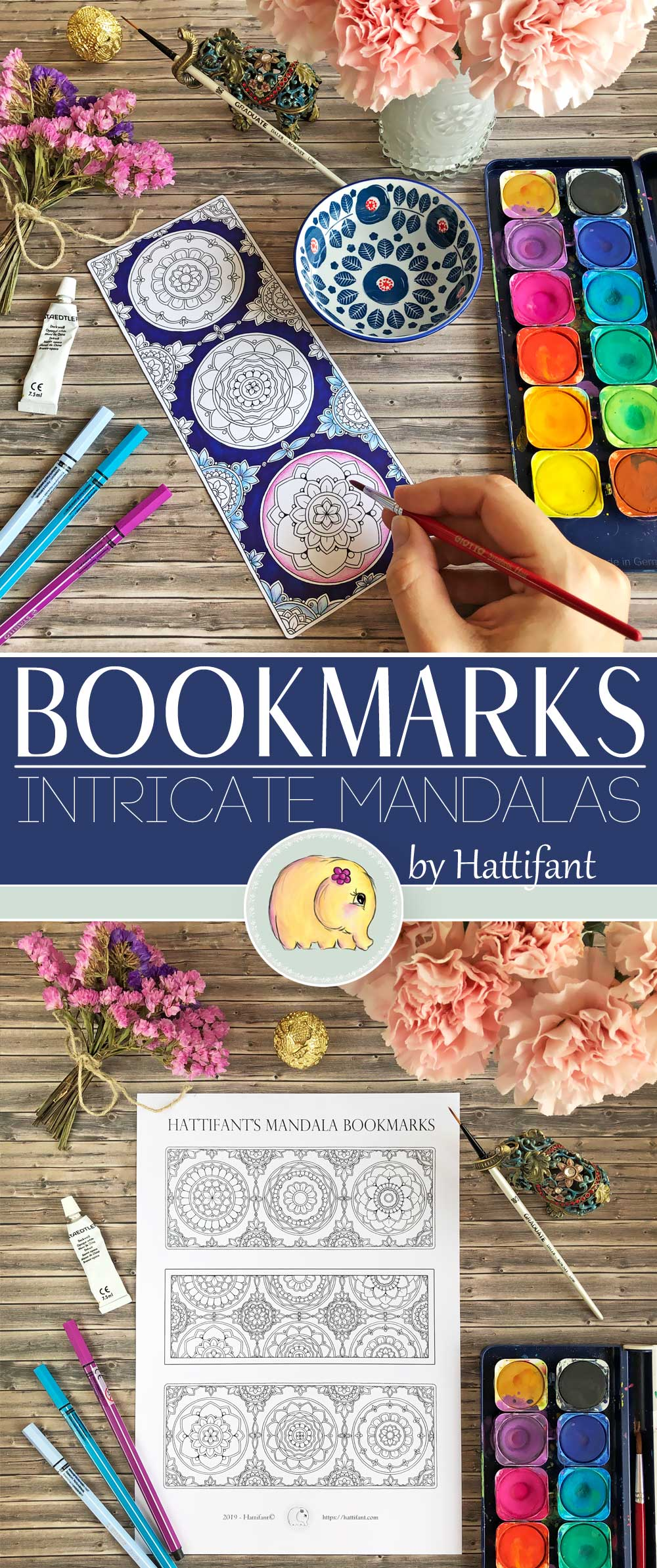 Hattifant's Intricate Mandala Bookmarks to Color