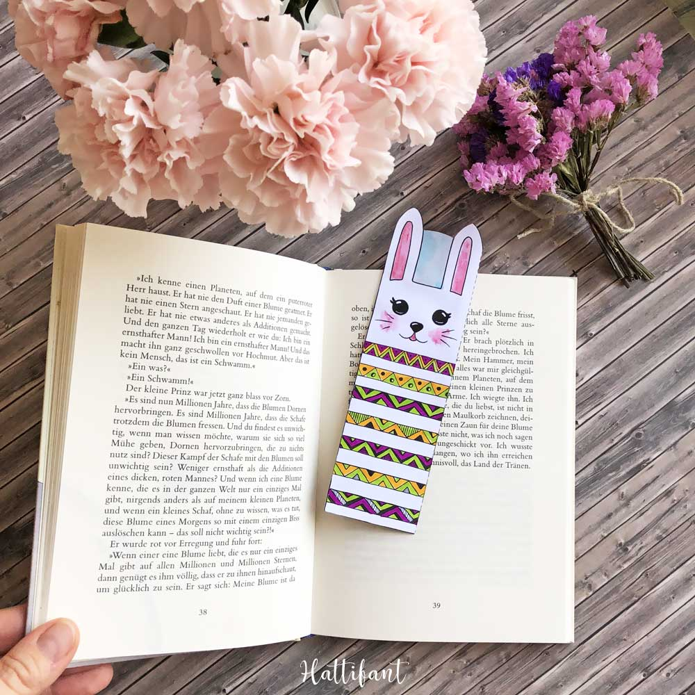 Hattifant's Bunny and Cat Bookmarks to Color and Create