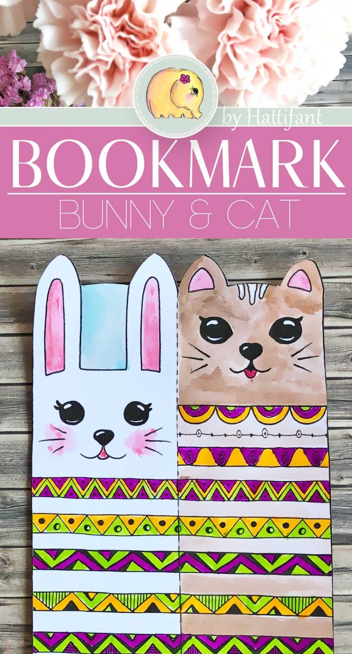 Hattifant-Bookmark-Bunny-Cat-double-sided-coloring-page ...