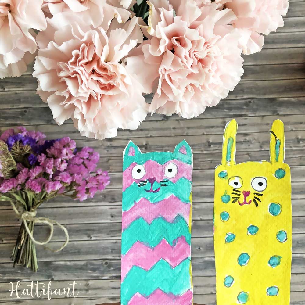 Hattifant's Bunny and Cat Bookmarks to Color and Create sample
