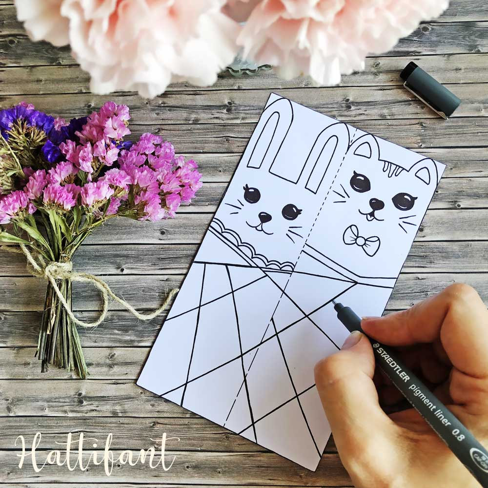 Hattifant's Bunny and Cat Bookmarks to Color and Create your own pattern