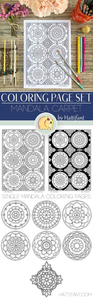 Hattifant's Mandala Carpet Coloring Page Set includes
