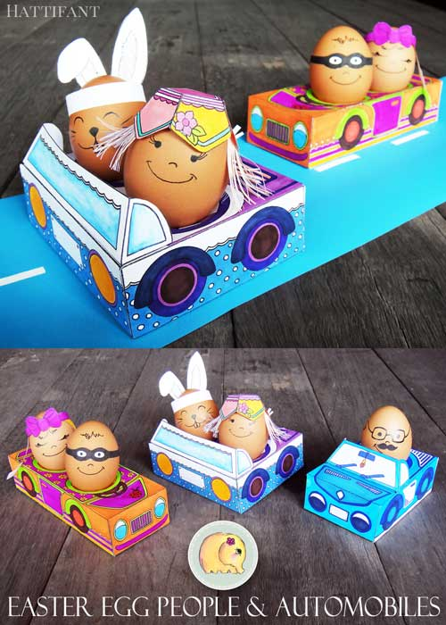 Hattifant's Easter Egg people and Automobile Paper Craft set