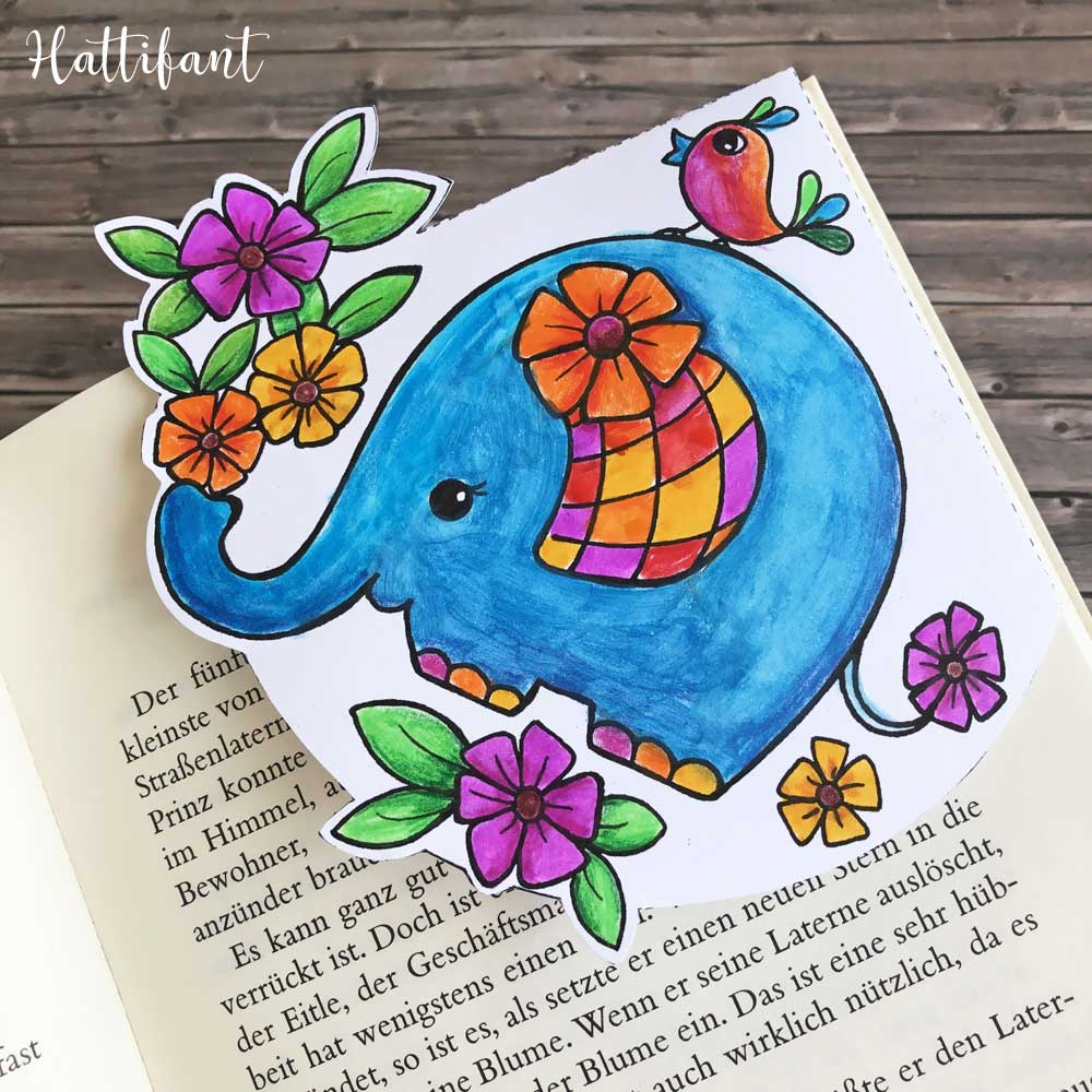 Hattifant's Kids' Coloring Page and Corner Bookmarks Elephant Spring Flowers Corner Bookmark Sample