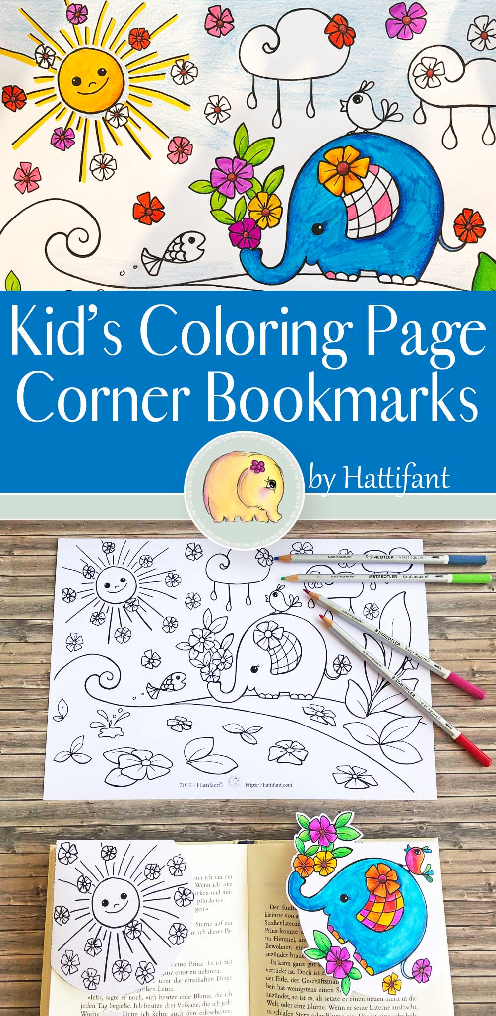 Hattifant's Kids' Coloring Page and Corner Bookmarks Elephant Spring Flowers
