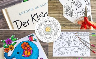 Hattifant's Kids Coloring Page and Corner Bookmarks Elephant Spring Flowers