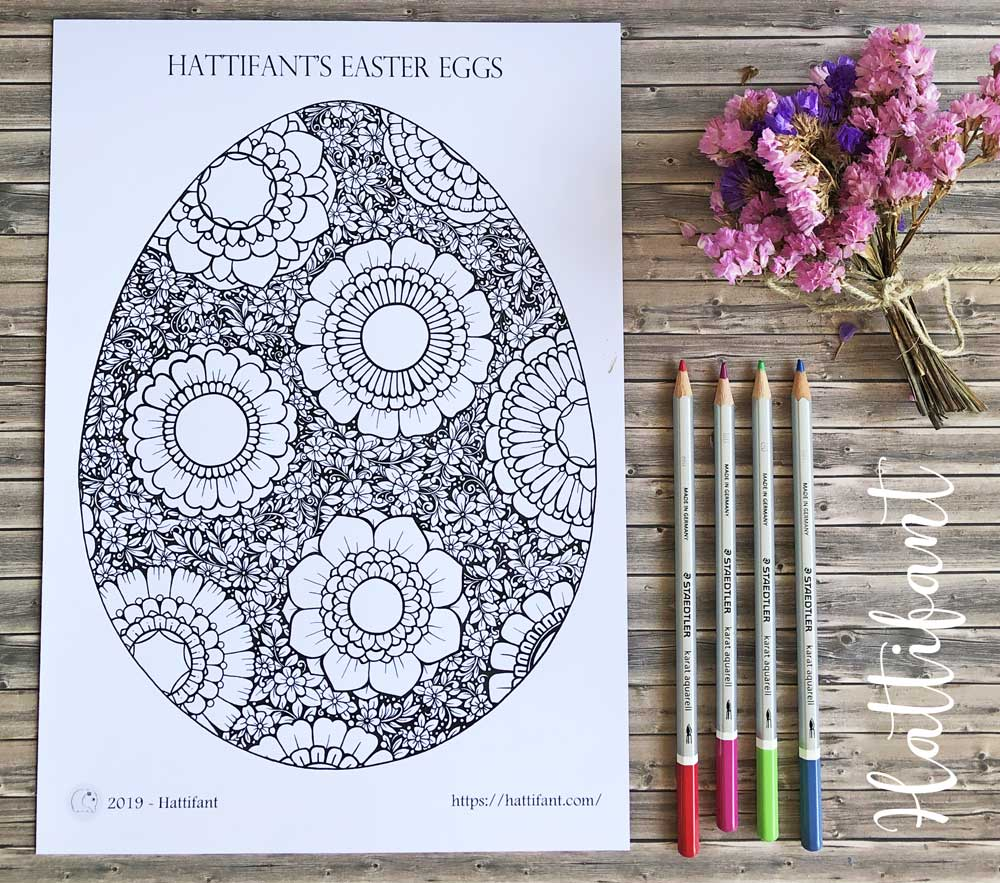 Hattifant's Giant Poster Flower filled Easter Egg to color A4 Coloring Page