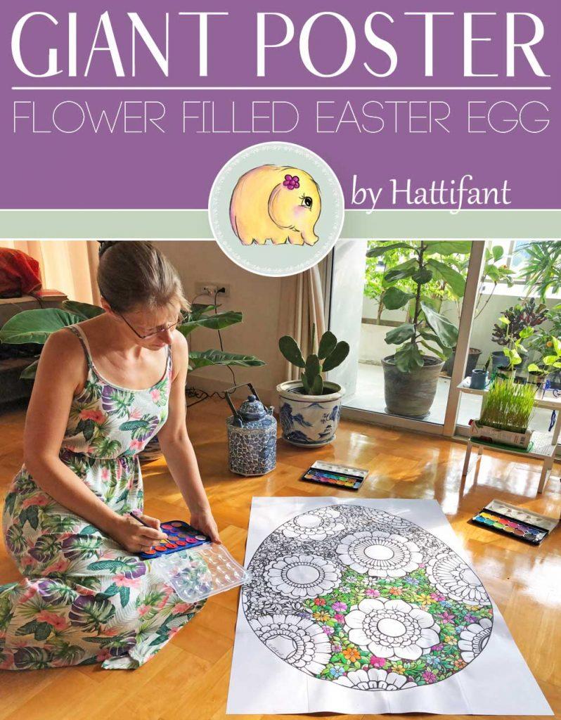 Hattifant's Giant Poster Flower filled Easter Egg to color