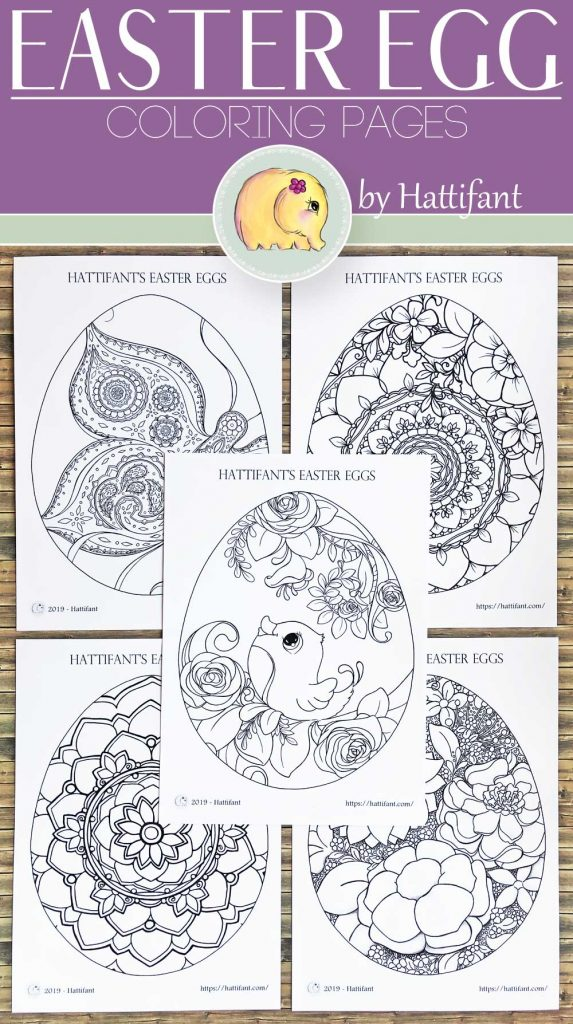 Hattifant's Easter Egg Coloring Page bundle with flowers, bird, mandala and butterfly