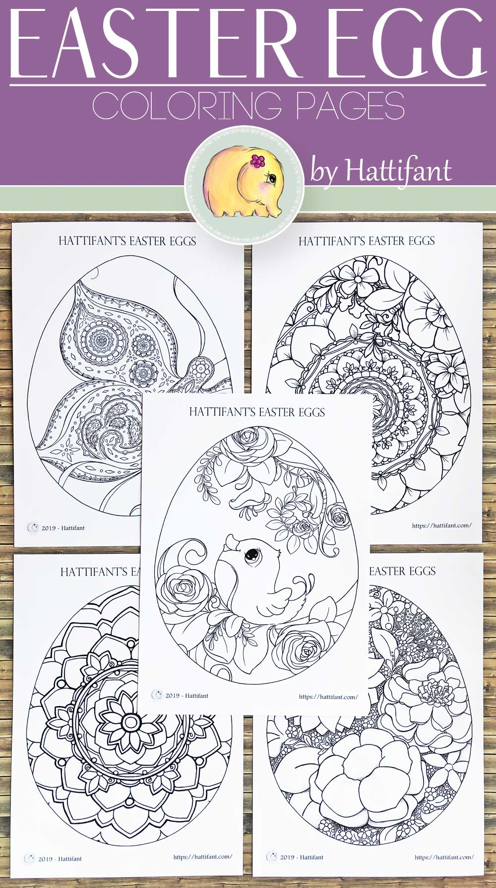 COLORING PAGES | EASTER Eggs - Hattifant