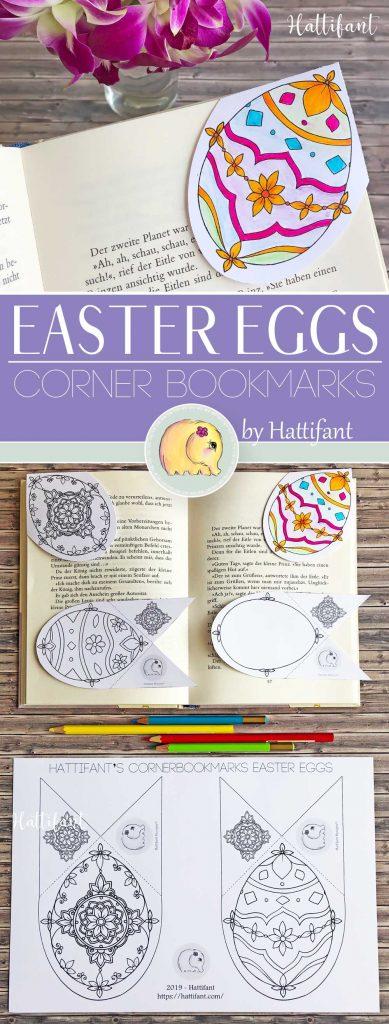 Hattifant's Easter Egg Corner Bookmarks to color