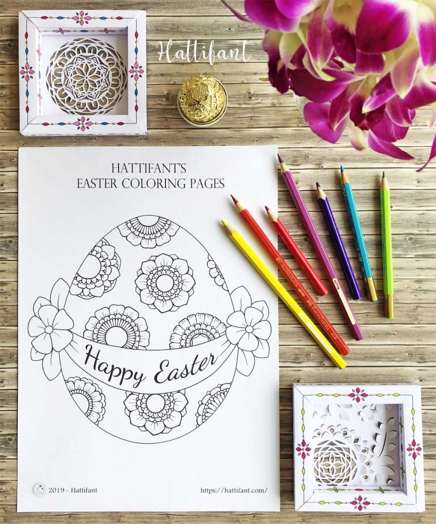 Hattifant's Easter Coloring Page Scenes Sample