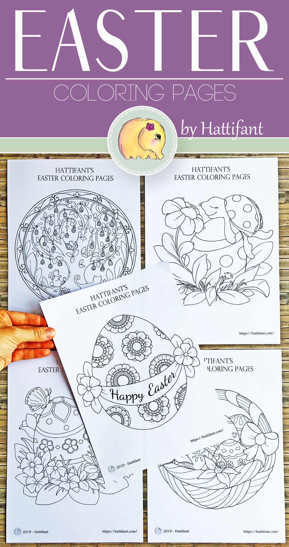 Hattifant's Easter Coloring Page Scenes