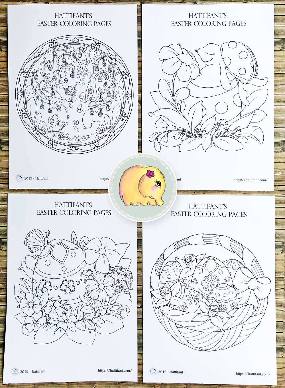 Hattifant's Easter Coloring Page Scenes 1