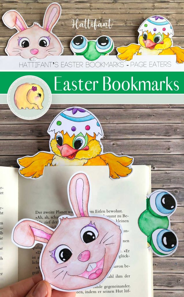 Hattifant's Easter Bookmark Page Eaters Bunny Frog Chicken Egg 1
