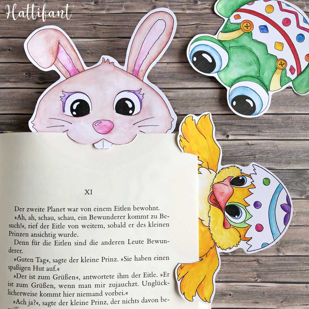 Hattifant's Easter Bookmark Page Eaters Bunny Frog Chicken Egg Samples