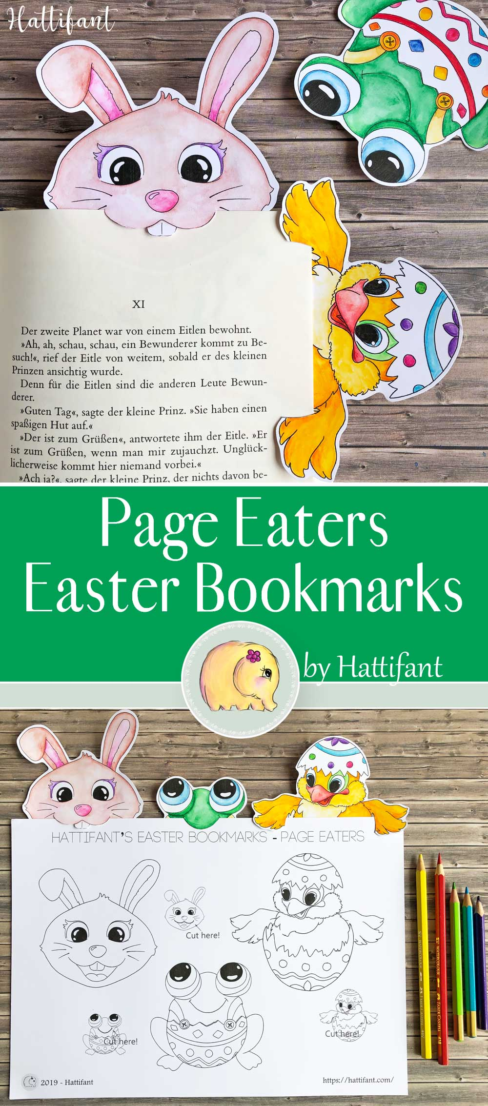 Hattifant's Easter Bookmark Page Eaters Bunny Frog Chicken Egg