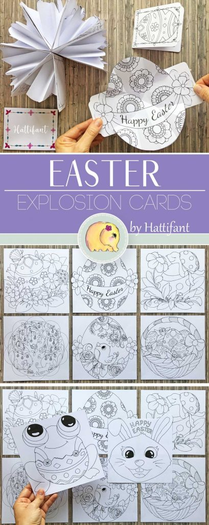 Hattifant's Easter Explosion Cards to Color