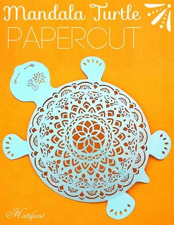 Hattifant's 3D Paper Cut Papercut Mandala Turtle