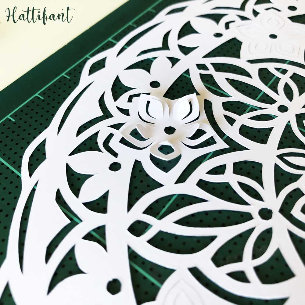 Hattifant's 3D Papercut Paper Cut Flower Mandala Close Up