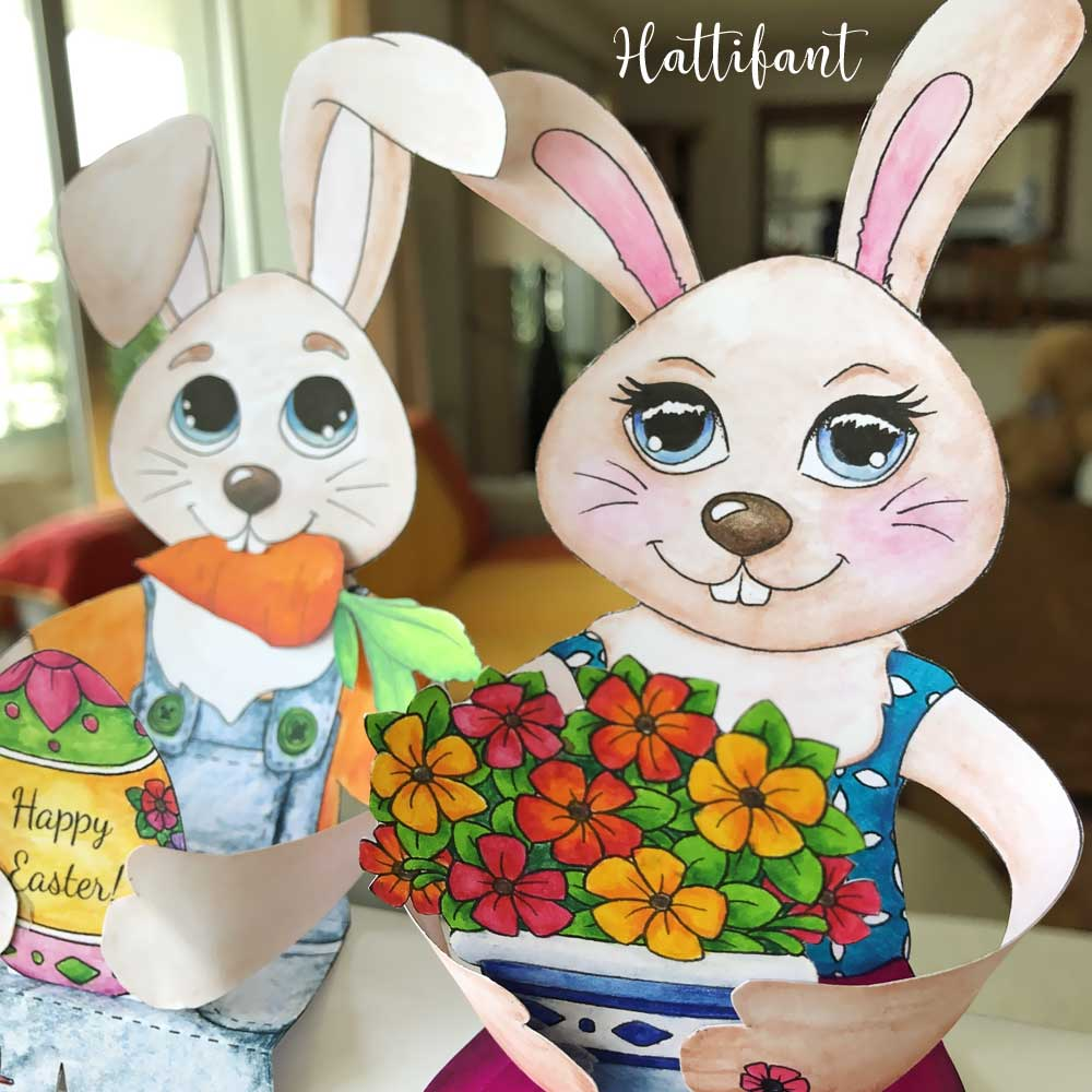 Hattifant's Easter Bunny Shelf Sitters to color Happy Easter
