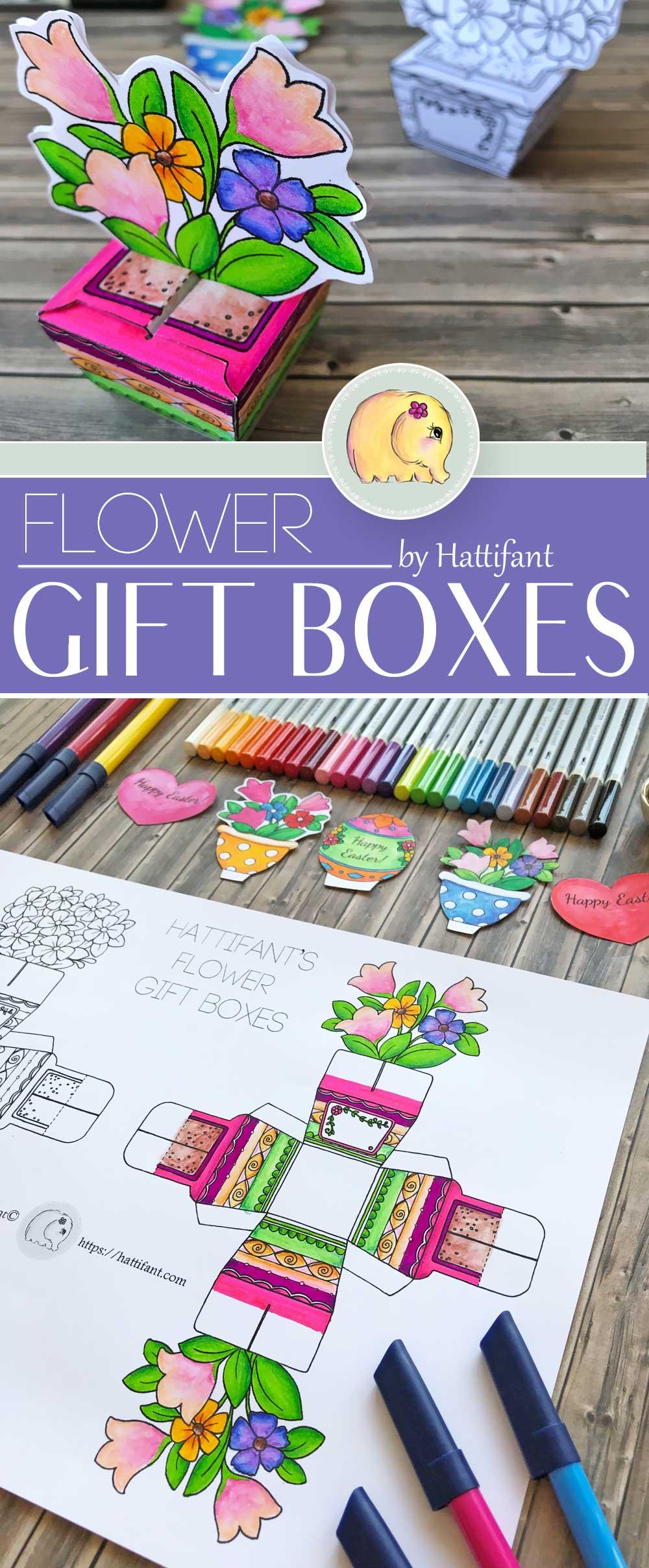 Hattifant's FLower Gift Boxes for Easter Bunny Shelf Sitters