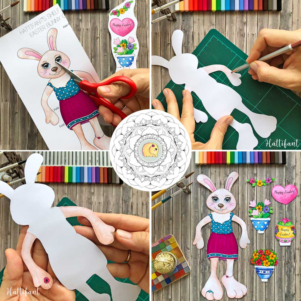 Hattifant's Easter Bunny Shelf Sitters to color how to 1