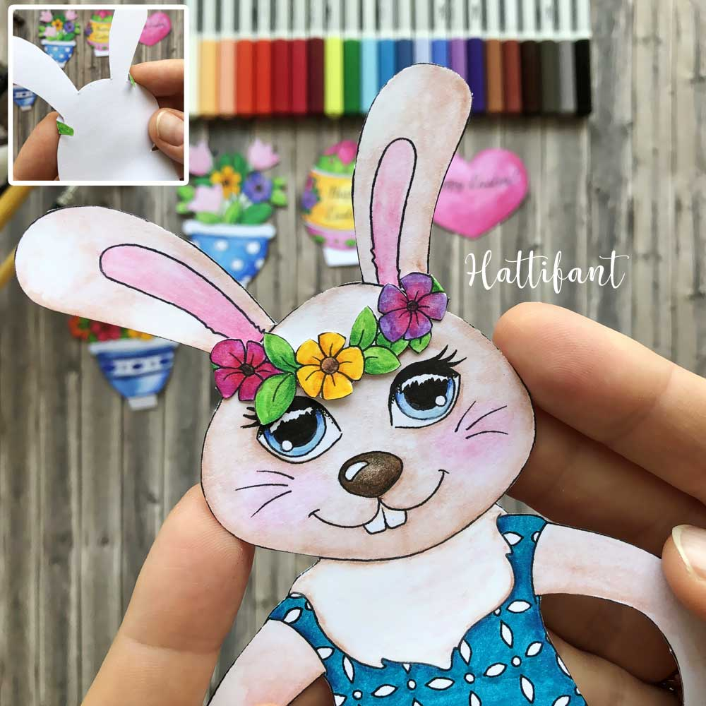 Hattifant's Easter Bunny Shelf Sitters to color how to hairband