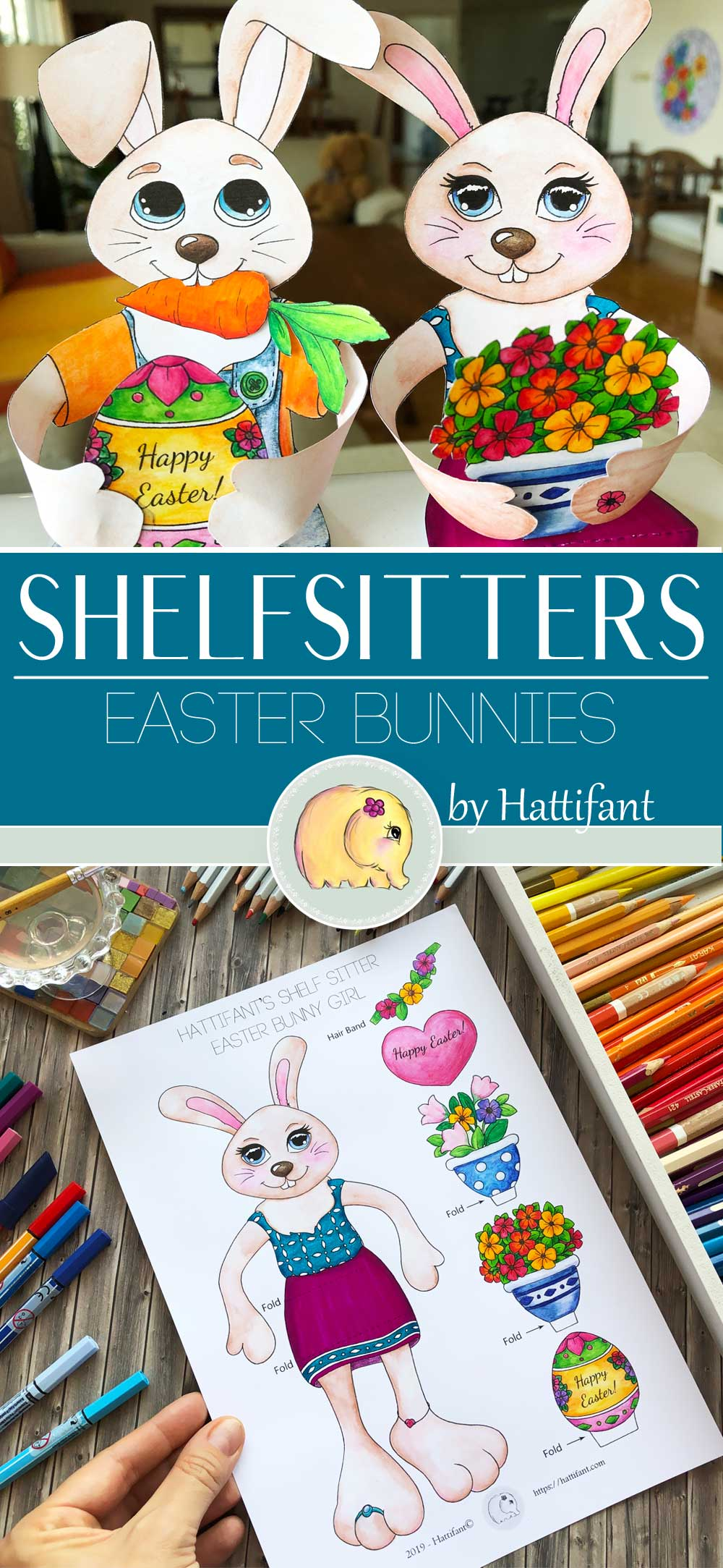 Hattifant's Easter Bunny Shelf Sitters to color