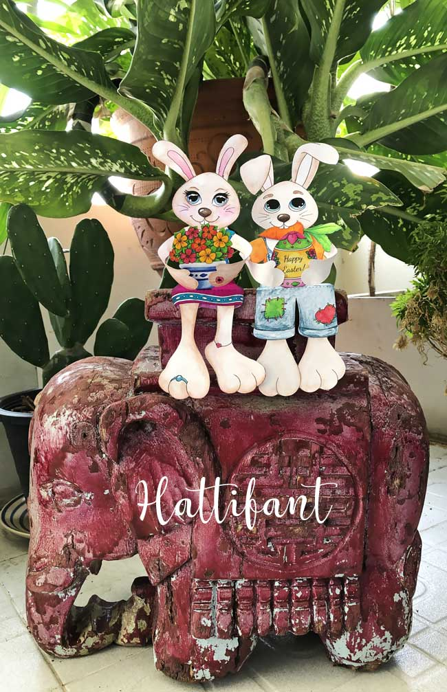 Hattifant's Easter Bunny Shelf Sitters to color on elephant