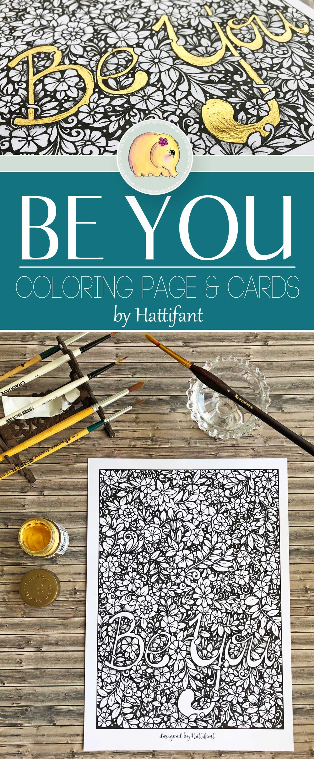 Hattifant's Be You Coloring Page and Cards Set Pin