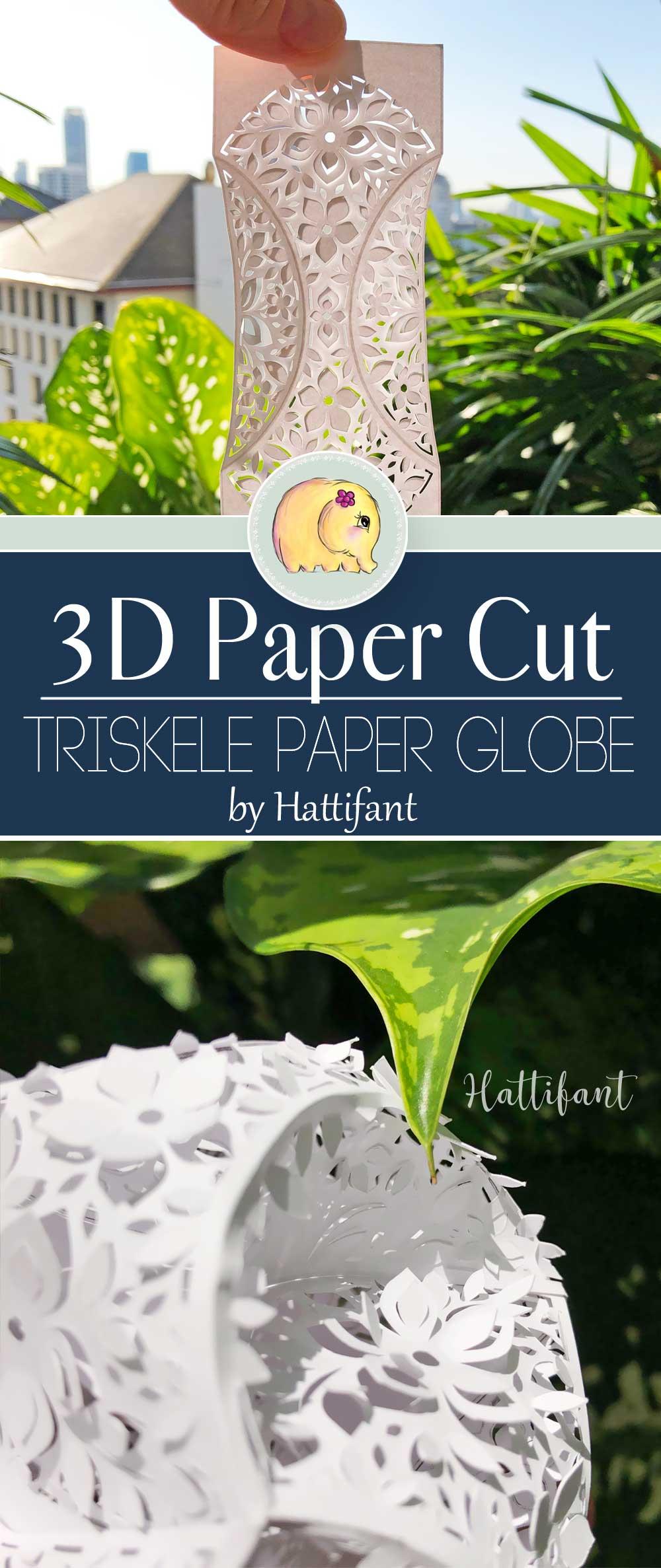 Hattifant's 3D Papercut Paper Cut 3D Flower Triskele Paper Globe Pin 2