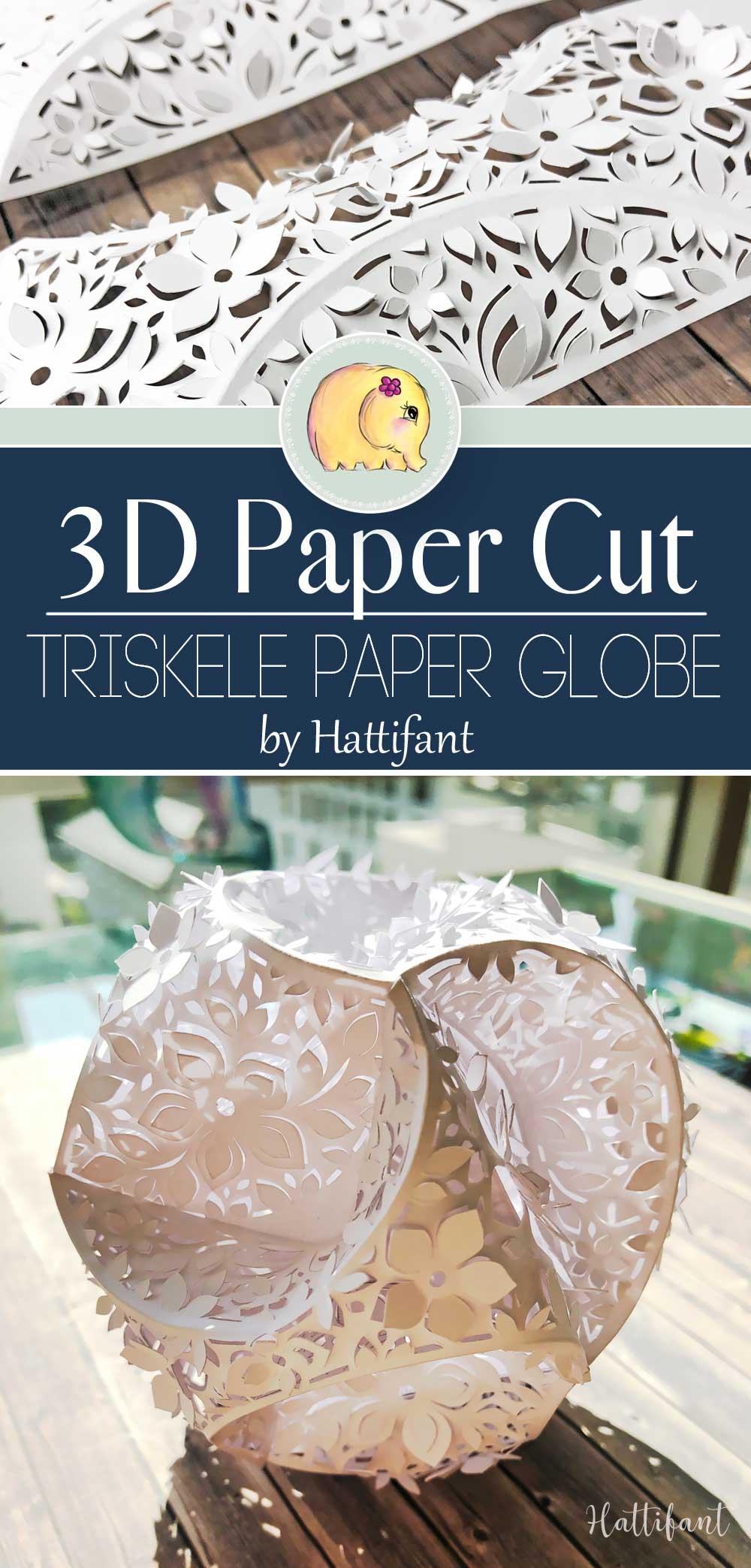 Hattifant's 3D Papercut Paper Cut 3D Flower Triskele Paper Globe Pin 1