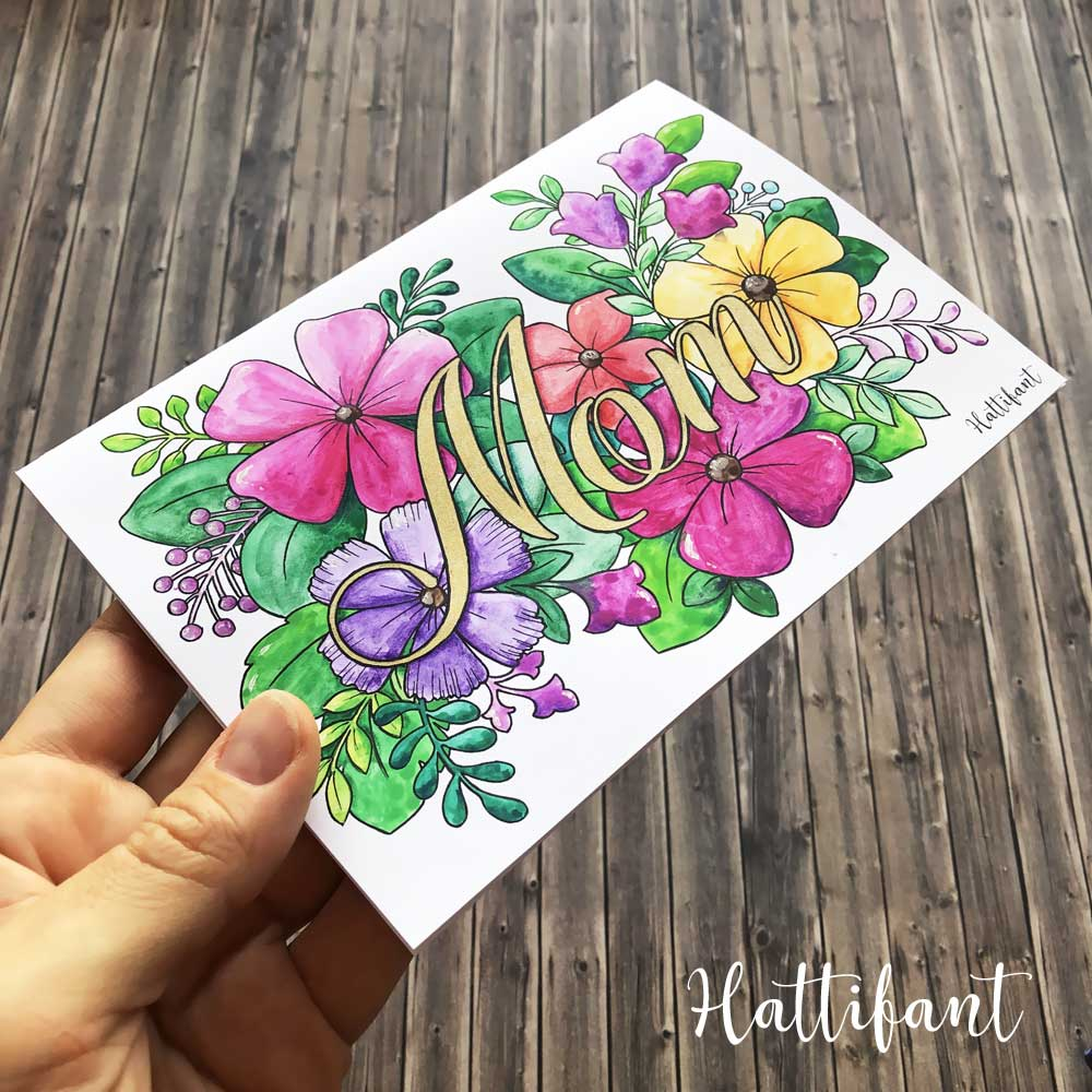 Hattifant's Mother's Day Flower Cards and Coloring Pages 1