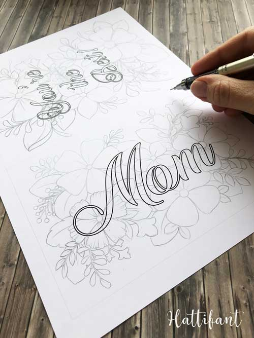 Hattifant's Mother's Day Flower Cards and Coloring Pages WIP